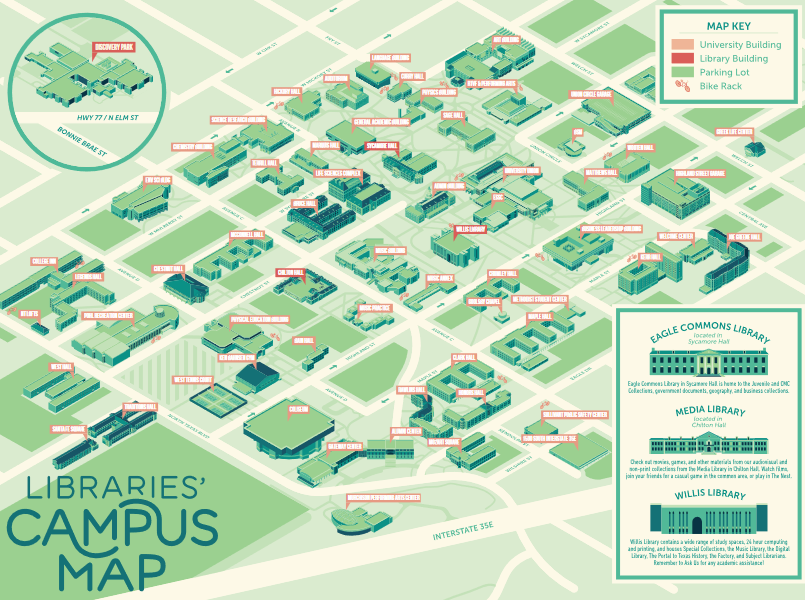 small image of UNT Libraries campus map for 2020