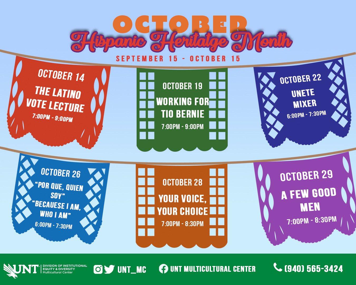 October events Multicultural Center calendar