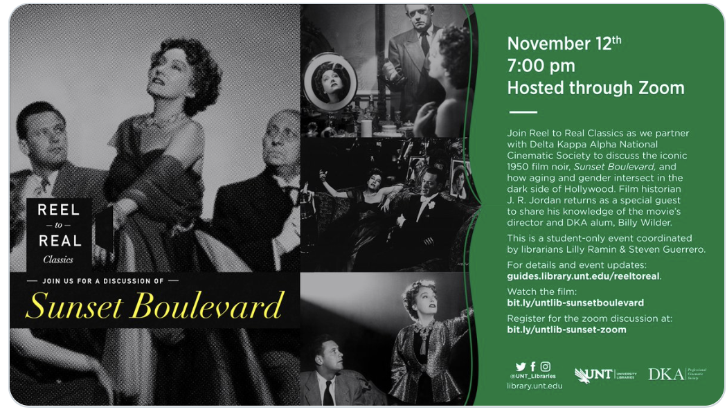 flyer for Sunset Boulevard discussion reel to real classics