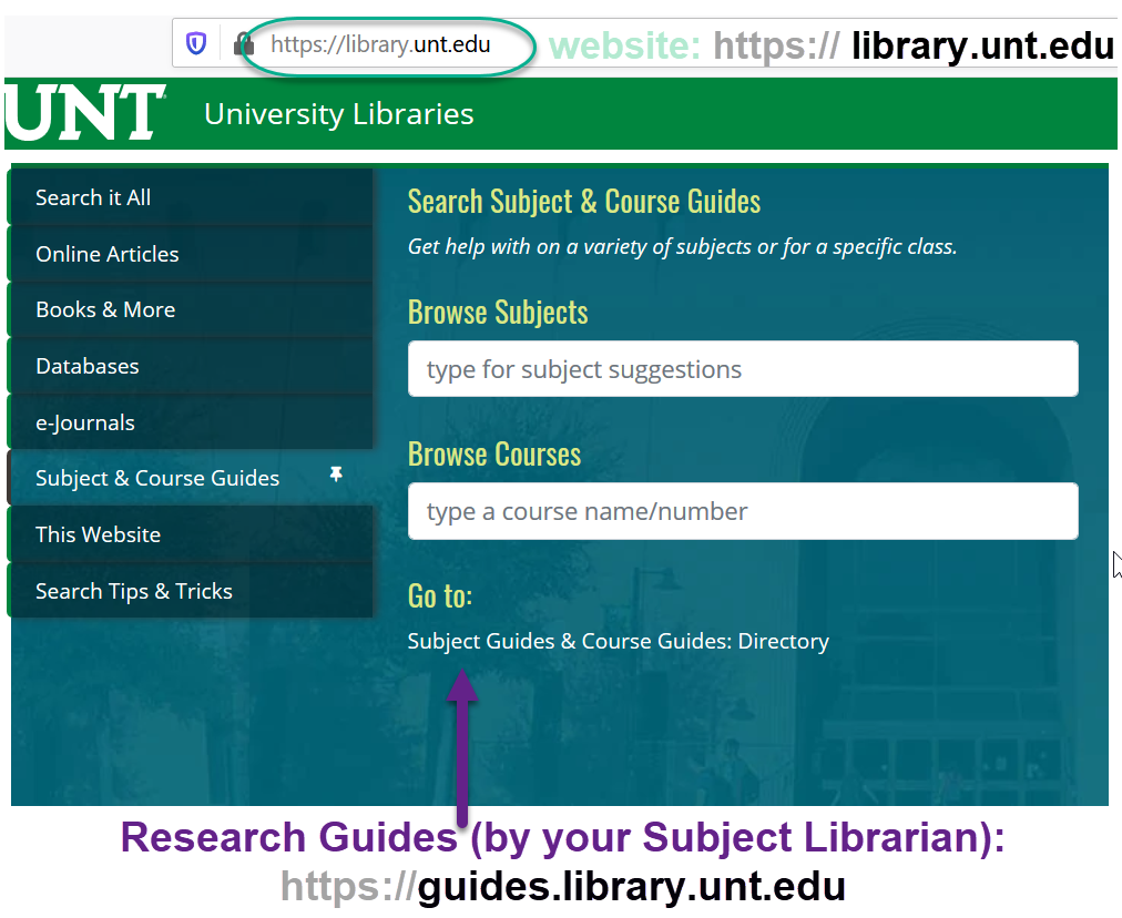 library website search tab options
