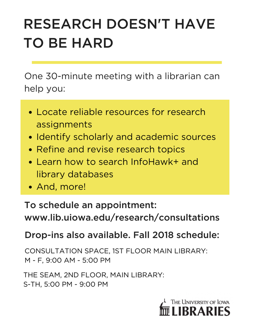 Research doesn't have to be hard. One 30-minute meeting with a librarian can help you: locate reliable resources, identify scholarly and academic sources, refine and revise research topics, and more.