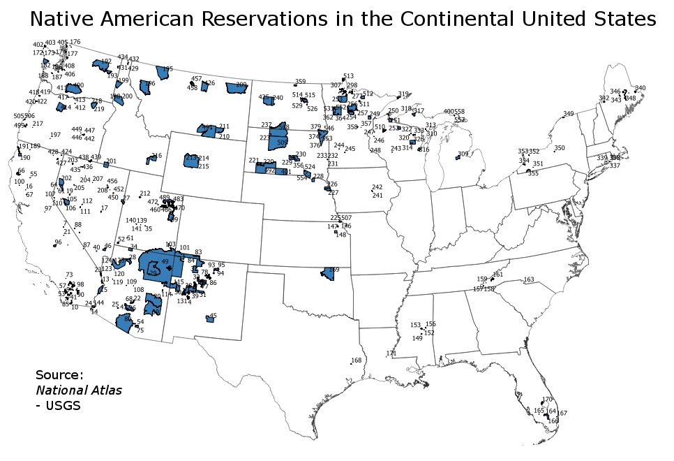Map of US Native American Reservations