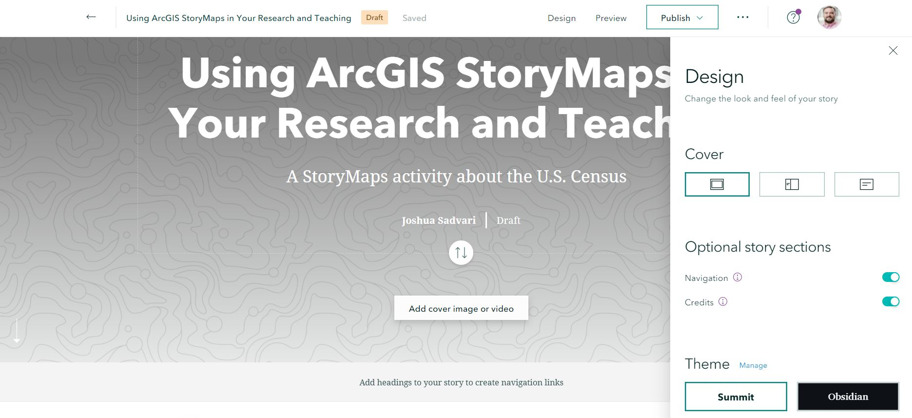 Updating design settings in ArcGIS StoryMaps