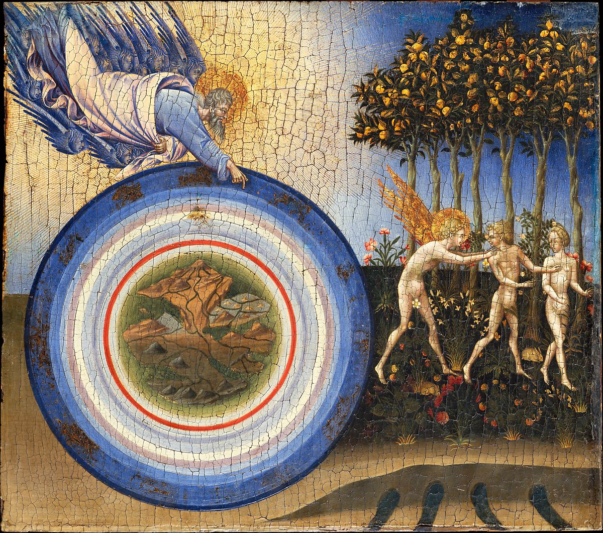 the painting The Creation of the World and the Expulsion from Paradise. 1445. by Giovanni di Paolo (Giovanni di Paolo di Grazia)