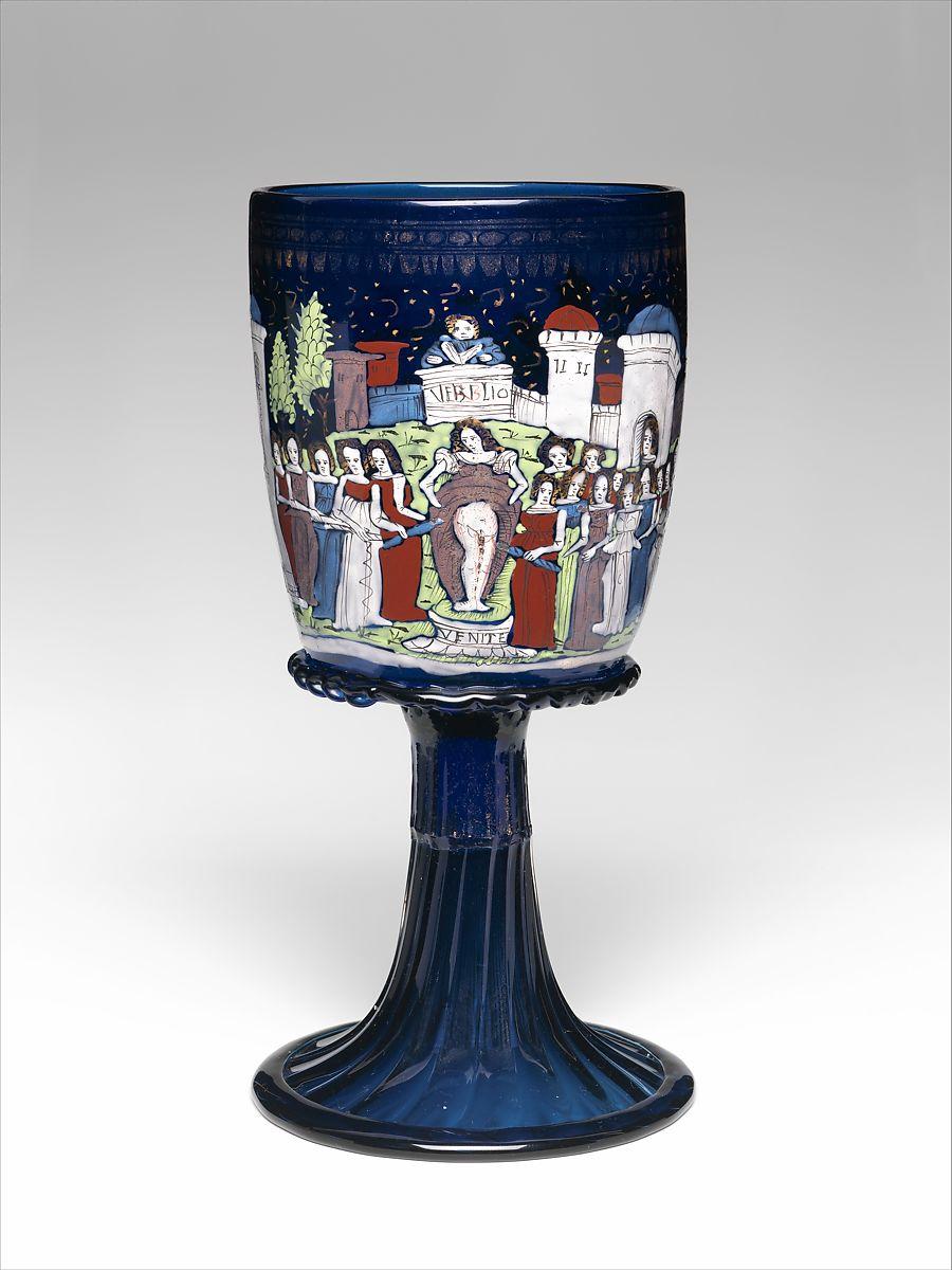 Goblet ca. 1475–1500 (modern foot) Italian, Venice, Murano  This fine, deep blue Venetian glass bears exquisite enameling,