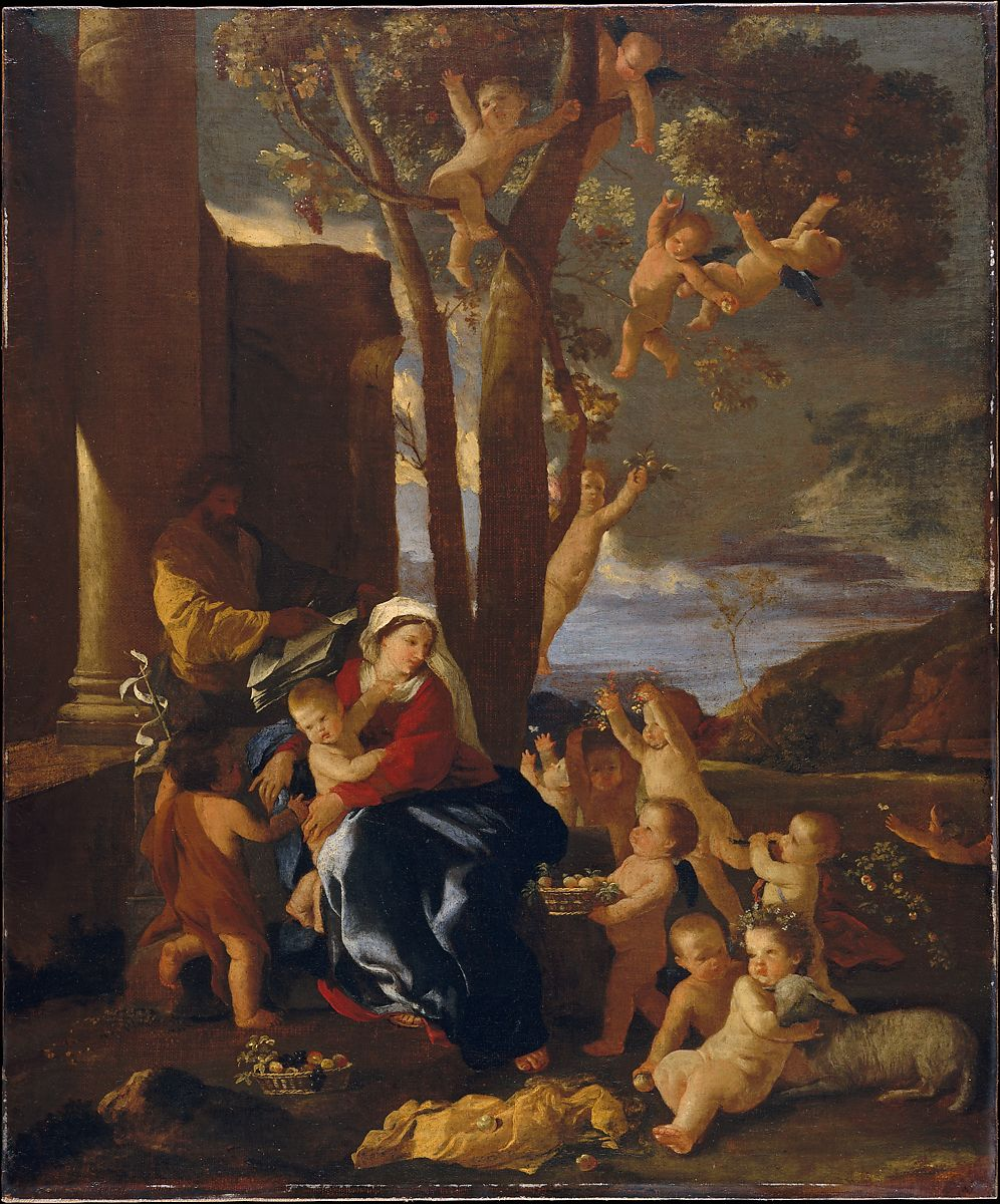 the painting The Holy Family with Saint John the Baptist ca. 1627 by Nicolas Poussin French