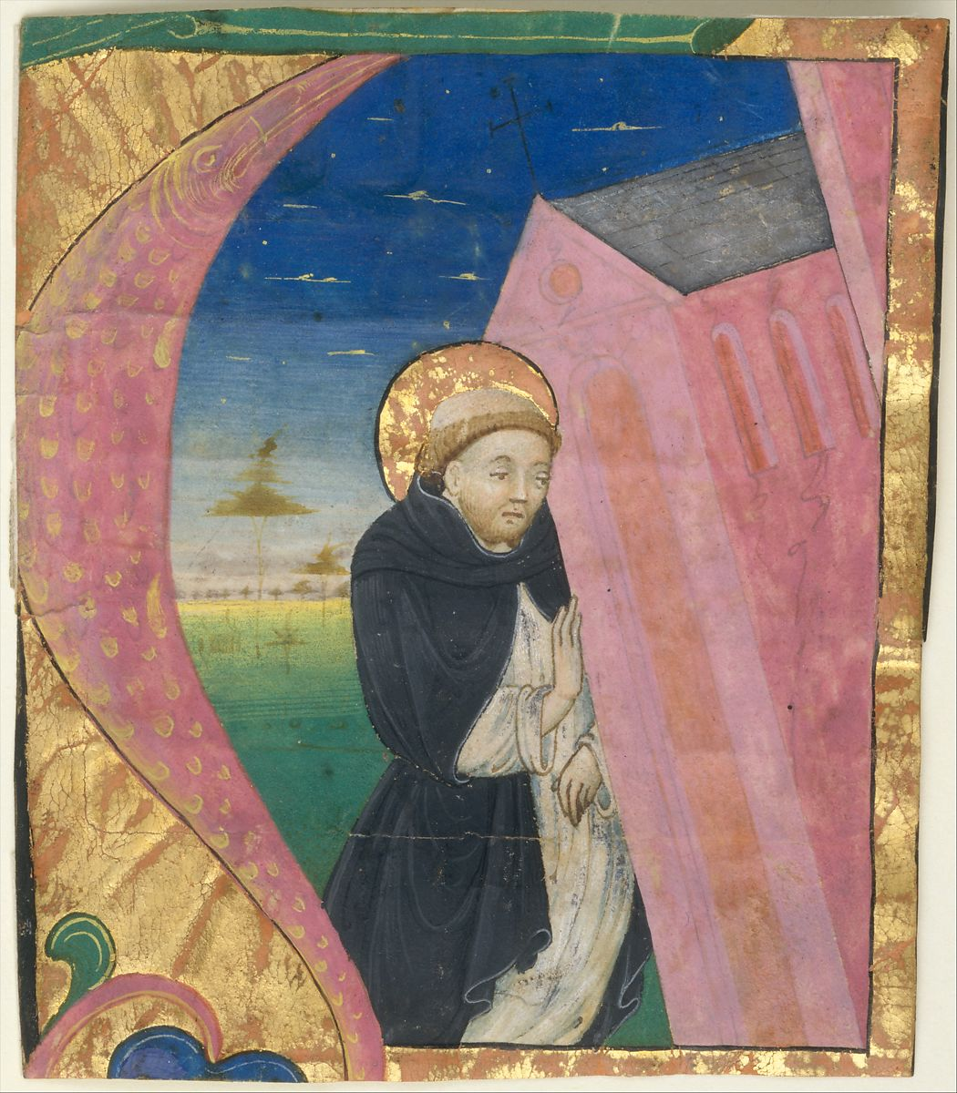 Manuscript Illumination with Saint Dominic Saving the Church of Saint John Lateran in an Initial A, from a Gradual mid-15th century