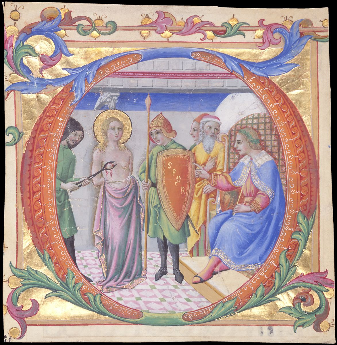 manuscript illumination Martyrdom of Saint Agatha in an Initial D ca. 1470–73