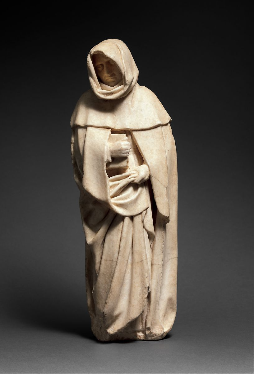 the sculpture Mourner ca. 1453 by Etienne Bobillet. Man in a robe.