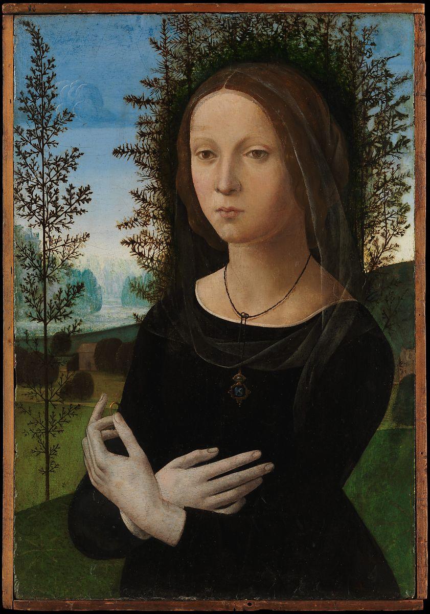 the painting Portrait of a Young Woman ca. 1490–1500 Lorenzo di Credi (Lorenzo d'Andrea d'Oderigo)