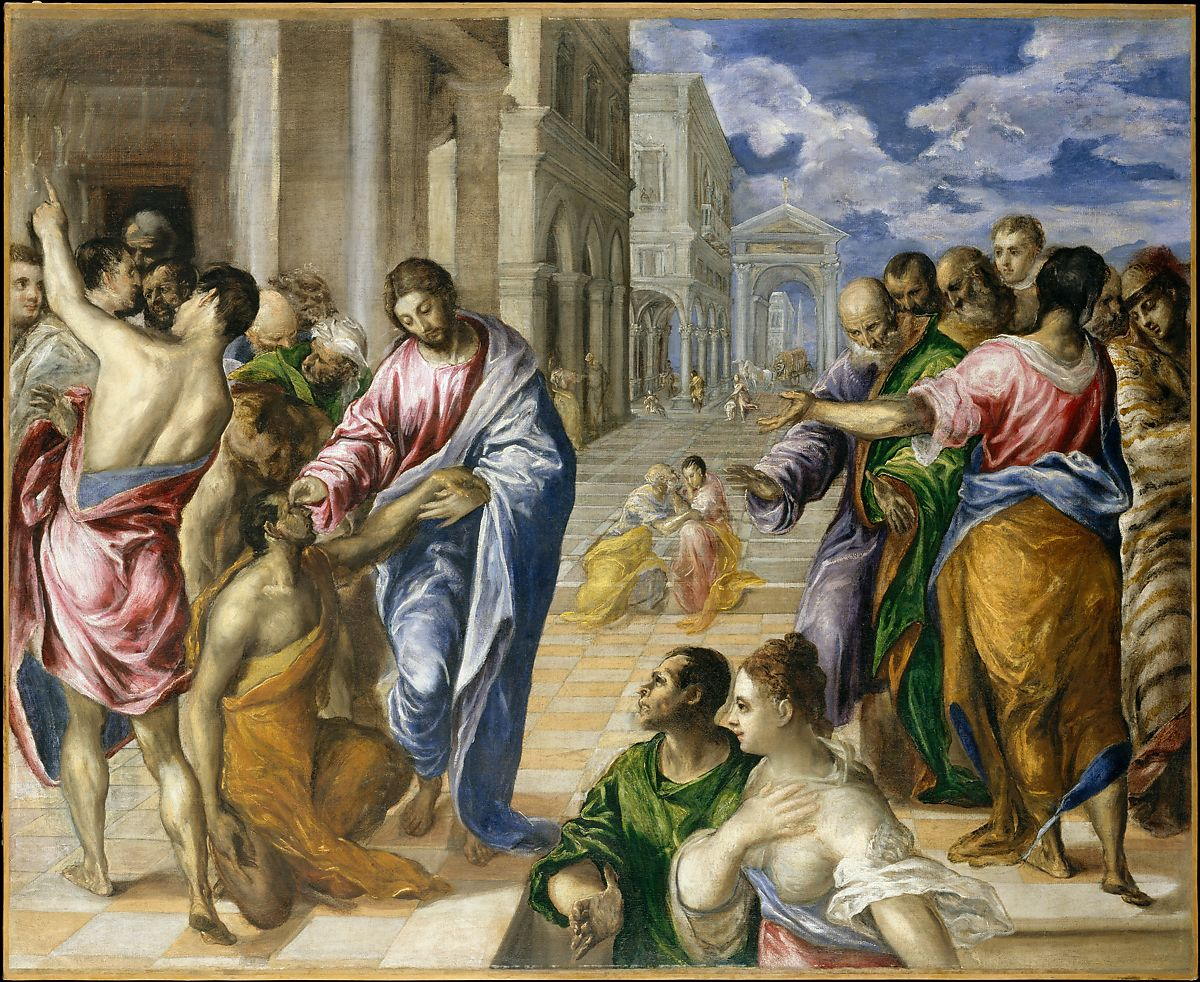 the painting Christ Healing the Blind ca. 1570. by El Greco (Domenikos Theotokopoulos)