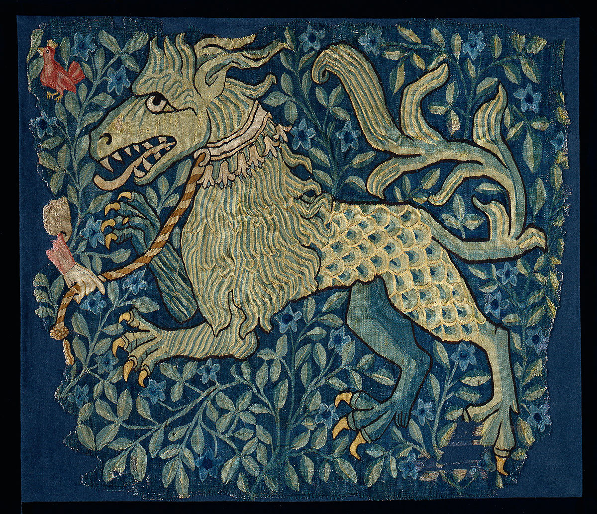 This tapestry fragment represents a fabulous lionlike beast with pointed teeth, clawed feet, and a scaly rump.