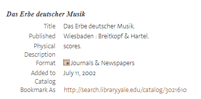 image of catalog record for Erbe deutscher Musik