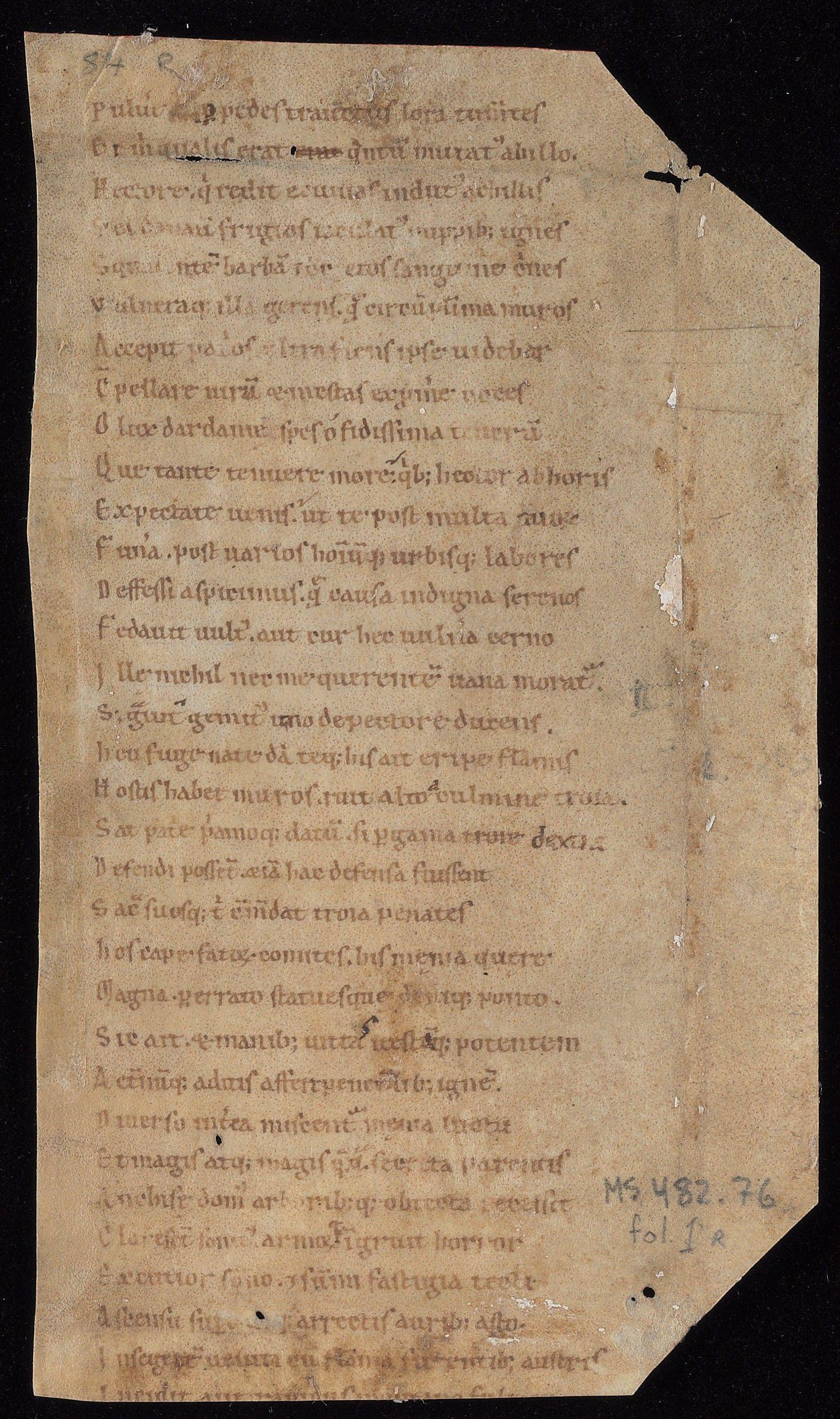 Aeneid Fragment Beinecke MS 482.76