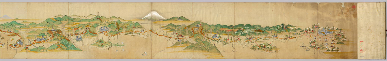 Tokaido narabini Saigoku dochu ezu, 1687; Japanese historical maps, East Asian Library, University of California, Berkeley