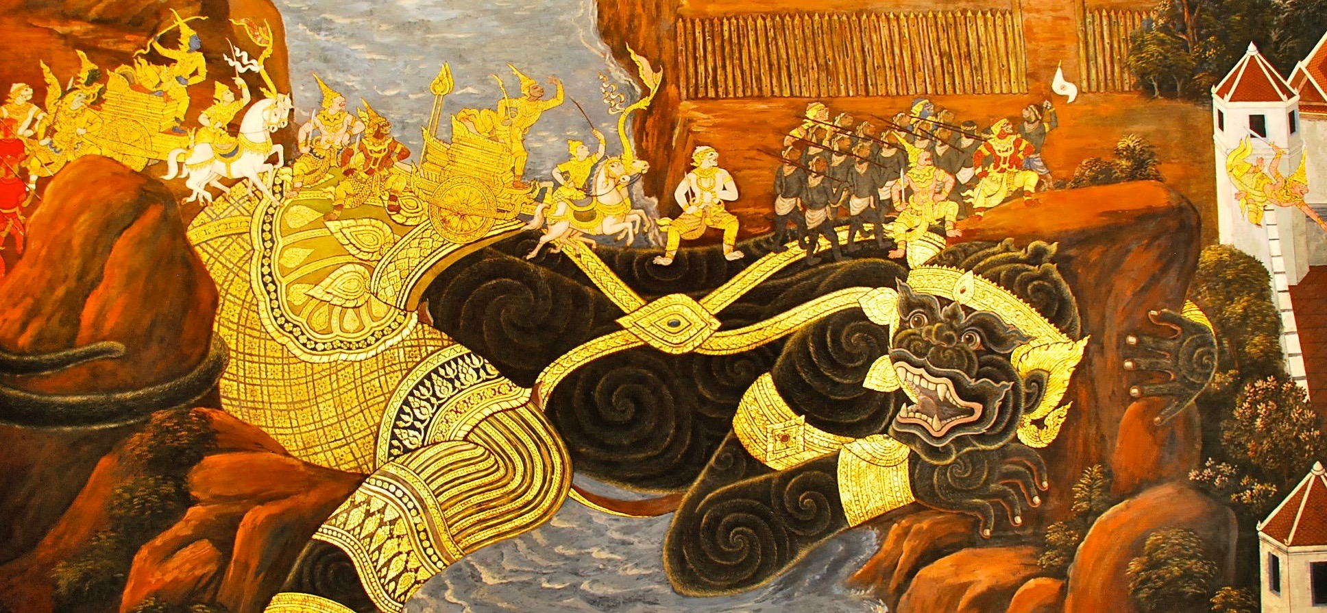 Thai Temple Mural, Grand Palace, photograph by author