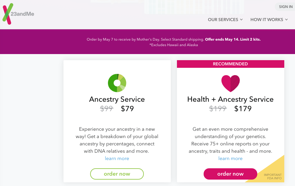 23andMe Mother's Day Sale