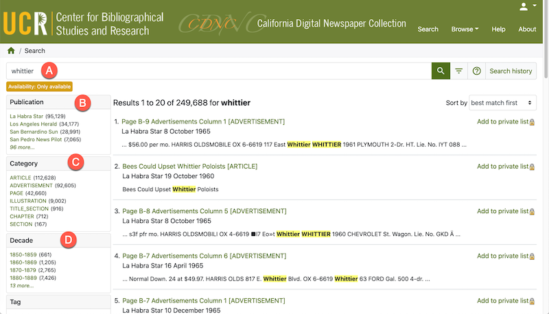 After entering your search terms, it can be helpful to filter your CDNC query by publication, category, or decade.