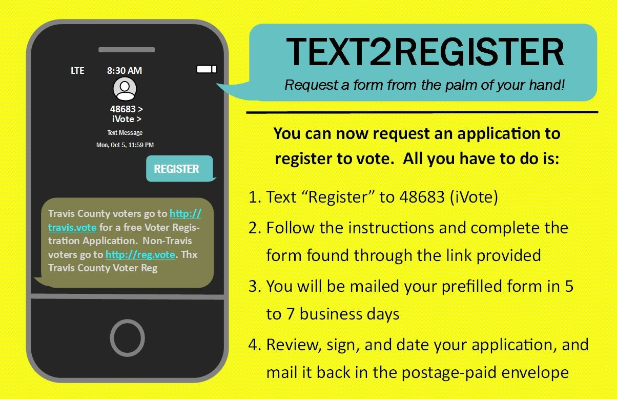 text2register poster - text the word REGISTER to 48683 and answer a few quick questions to be mailed a pre-filled voter registration application that you can sign and mail back in a pre-paid envelope for speedy voter registration.