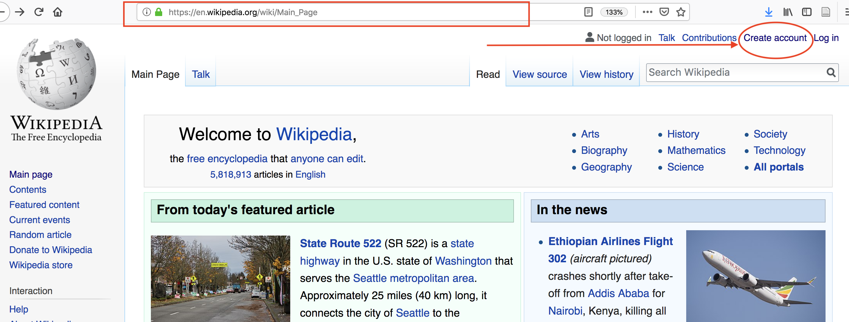 link to create an account in wikipedia