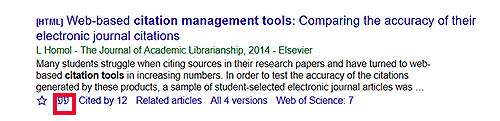 Google Scholar search result with an option to cite (quotation makl icon)