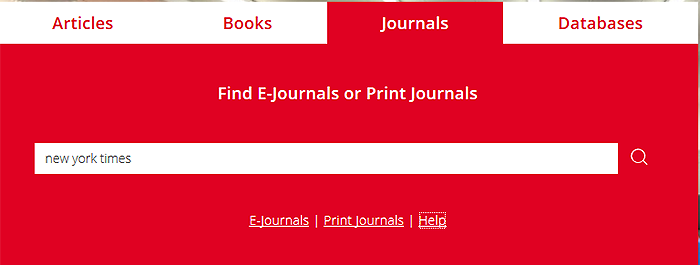 search box  for journals