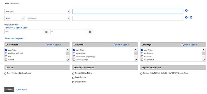 Summon advanced search form