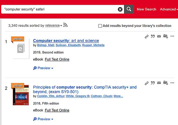 Summon search screen with links to Safari books