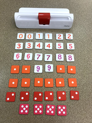 What comes with the Ekit: an iPad base, 20 number tiles, and 18 dice tiles