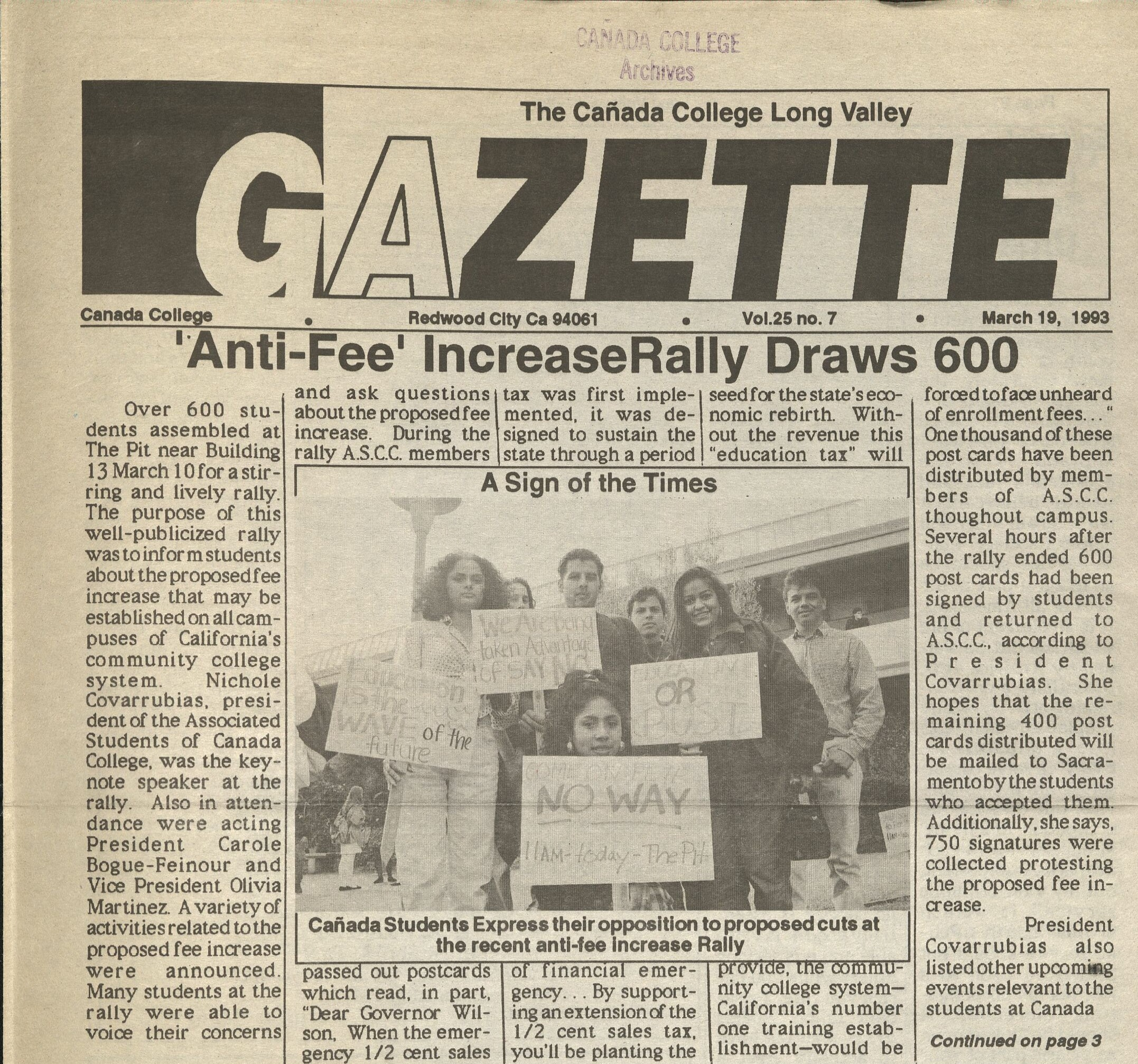 Canada College student newspaper article showing Anti-free increase rally