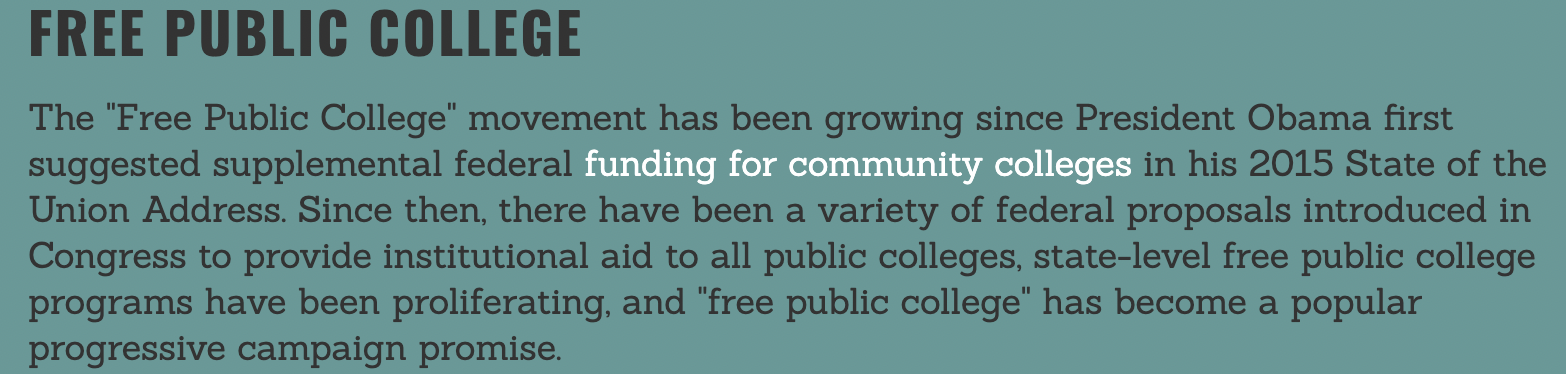 """Introductory text for """"Free Public College"""""""