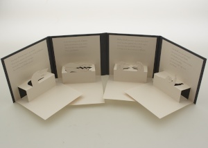 The Pop-Up hand shadow book opened and standing on its side