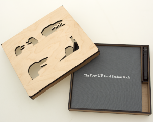 The container for The Pop-Up hand shadow book with book inside