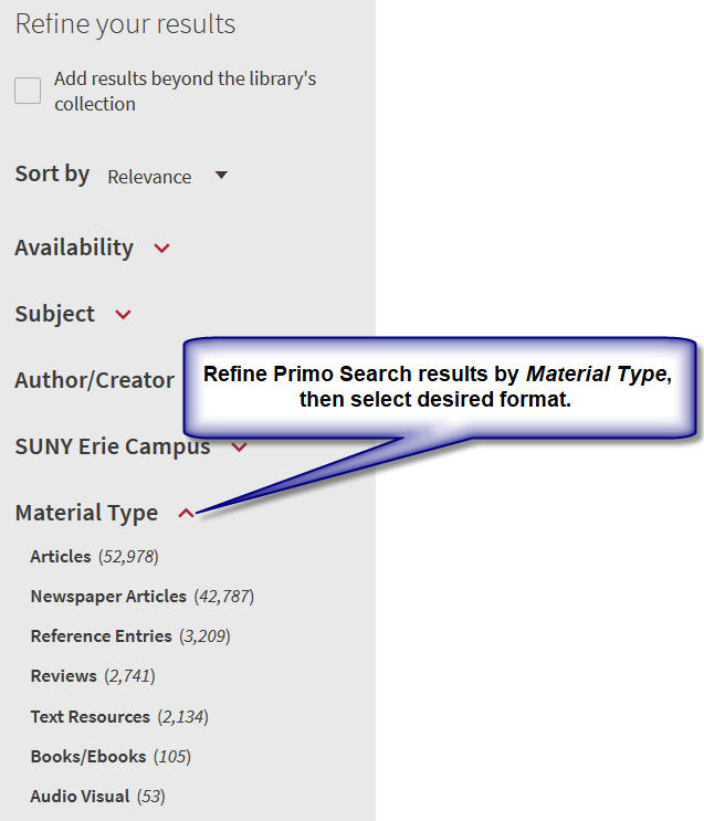 Refine Primo Search results by selecting Material