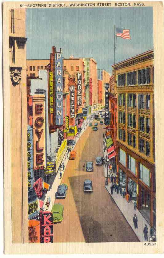 Postcard featuring a view of Boston's Theatre Dist