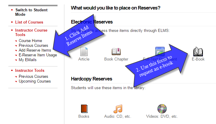Arrows show how to add an E-book. First click on Add Reserve Items, then select the E-book option icon.