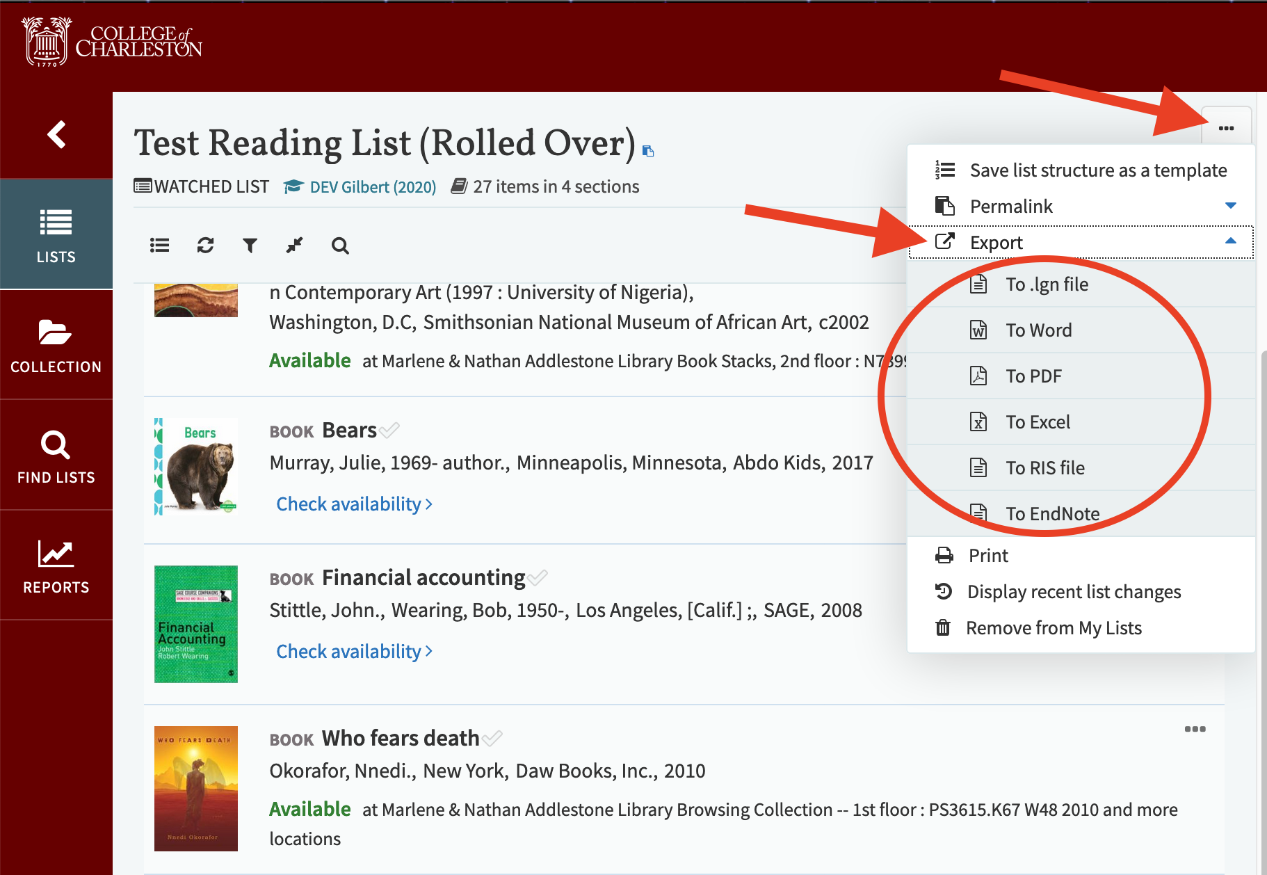 Screenshot demonstrating how to export a reading list for students
