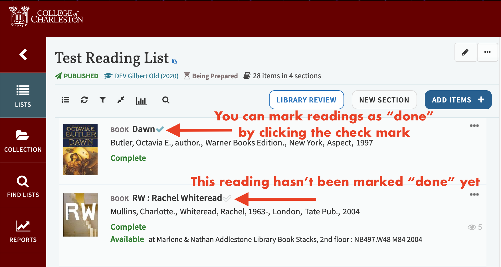 Screenshot indicating how to mark your readings as complete or incomplete