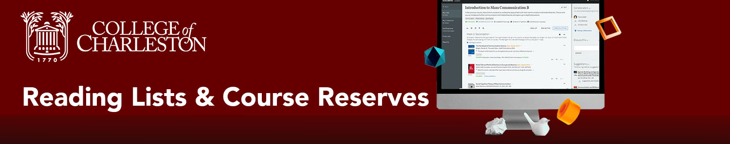 Home page banner image for reading list and course reserve libguide. Maroon background with white text that reads,