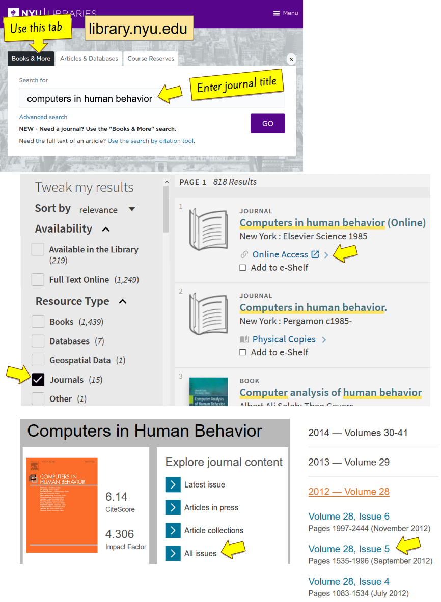 "Screen shots showing a journal title search in the ""Books & More"" tab and linking out to the journal's website."