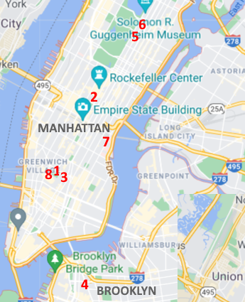 Detail of map of Manhattan and Brooklyn depicting locations of NYU libraries in New York.