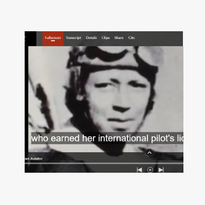 Detail from a documentary about a pioneering woman pilot.