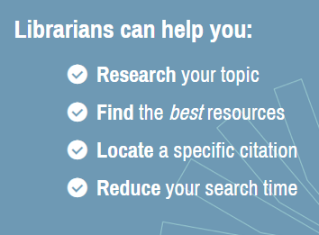 Librarians can help you research your topic, find the best sources, or locate a citation