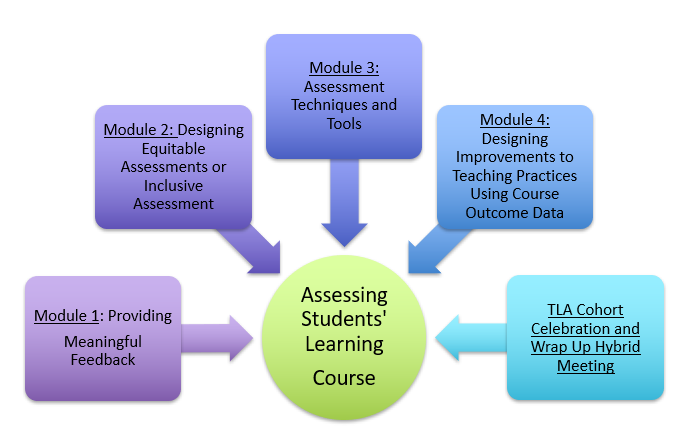 Assessing student learning course modules at a glance