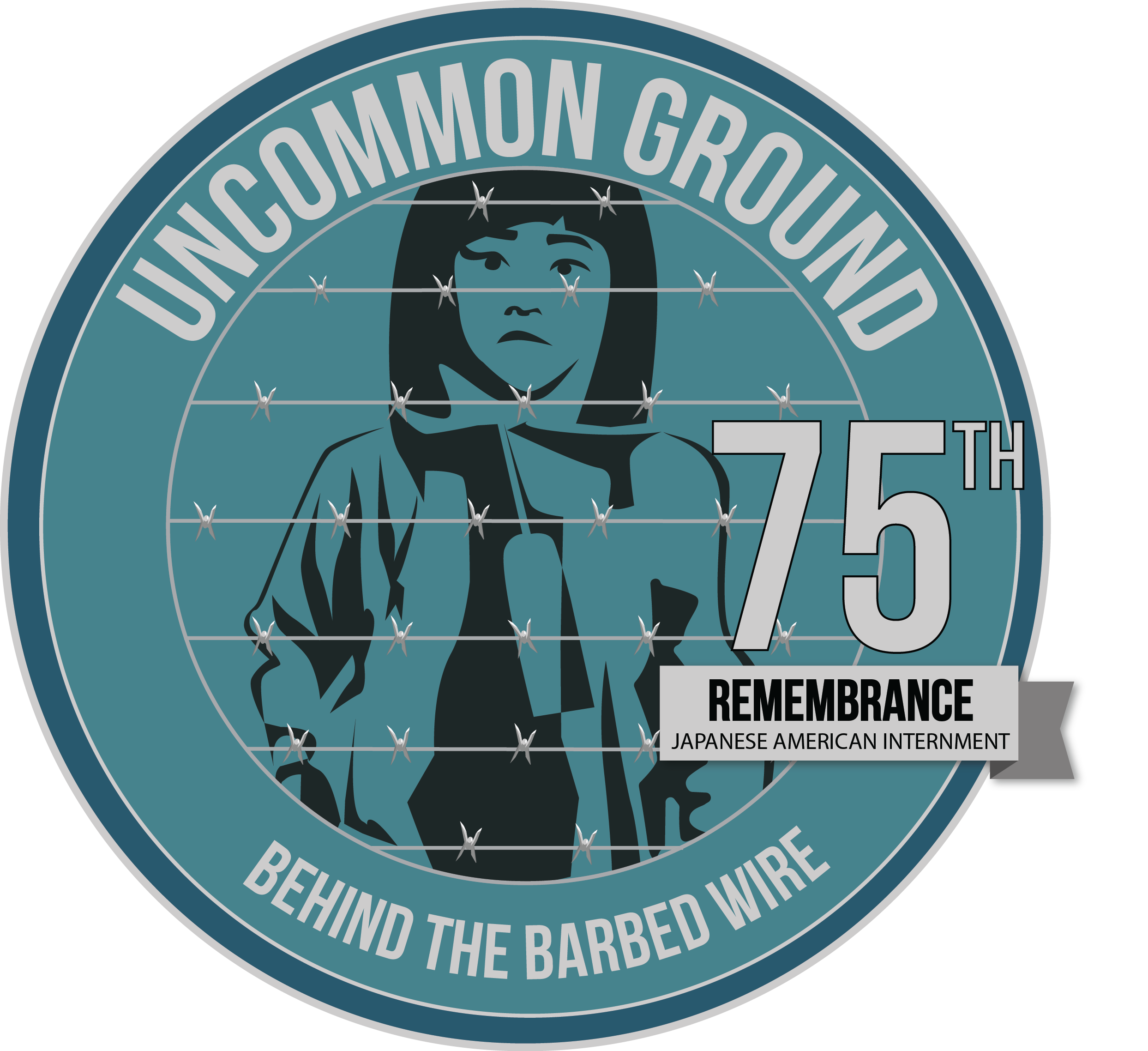 Logo for Exhibit - Uncommon Ground: Behind the Barbed Wire. 75th anniversary of Japanese American Internment.