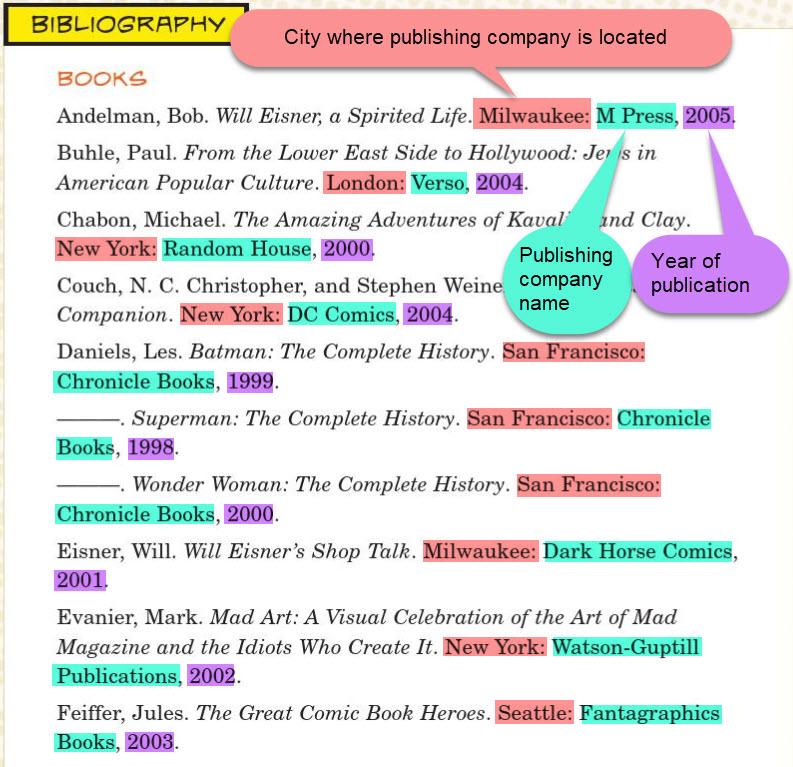 Books in a bibliography