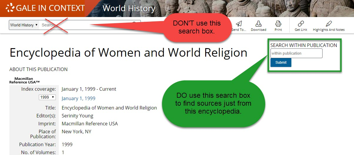 Encyclopedia of Women and Religion search box
