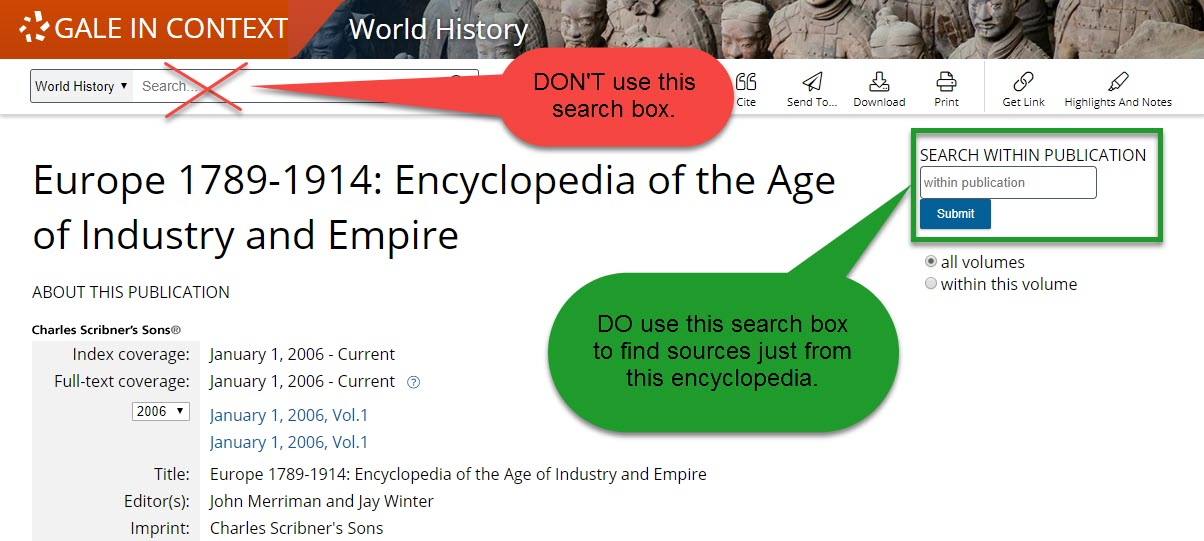 Europe 1789-1914 search box