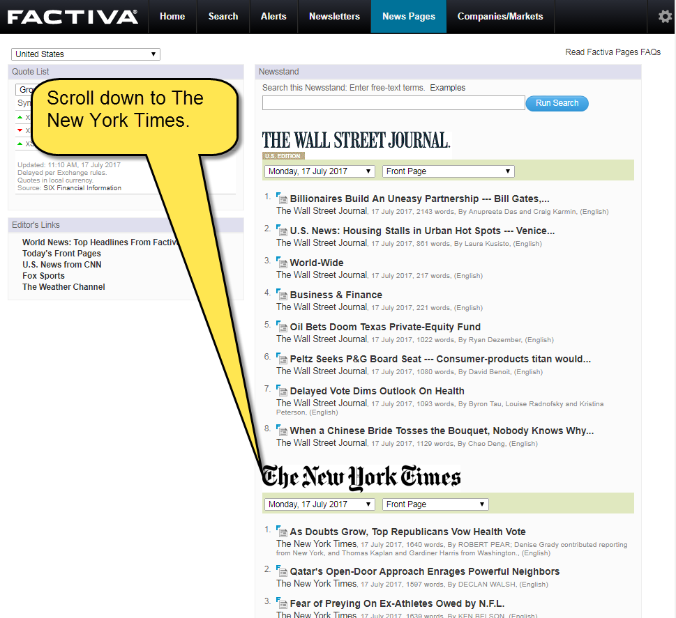 Screenshot of location of New York Times articles in news pages section