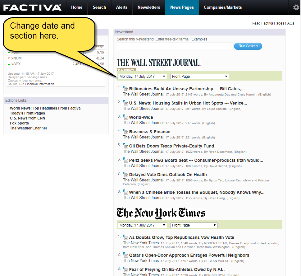 Screenshot of Wall Street Journal in news pages